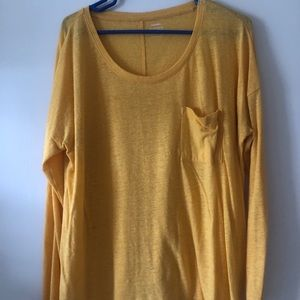 Long sleeve, boyfriend tee. Mustard yellow